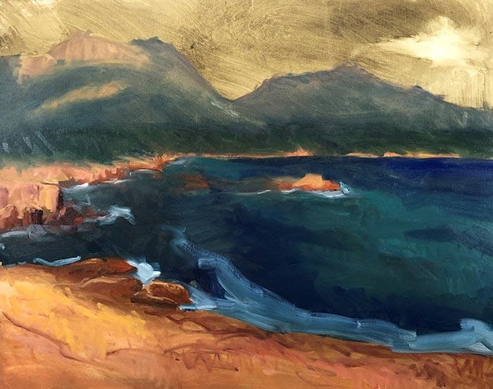 Painting Honeymoon Bay, Tasmania (7)