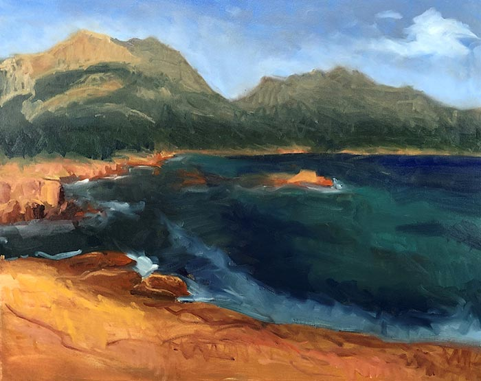 Painting Honeymoon Bay, Tasmania (8)