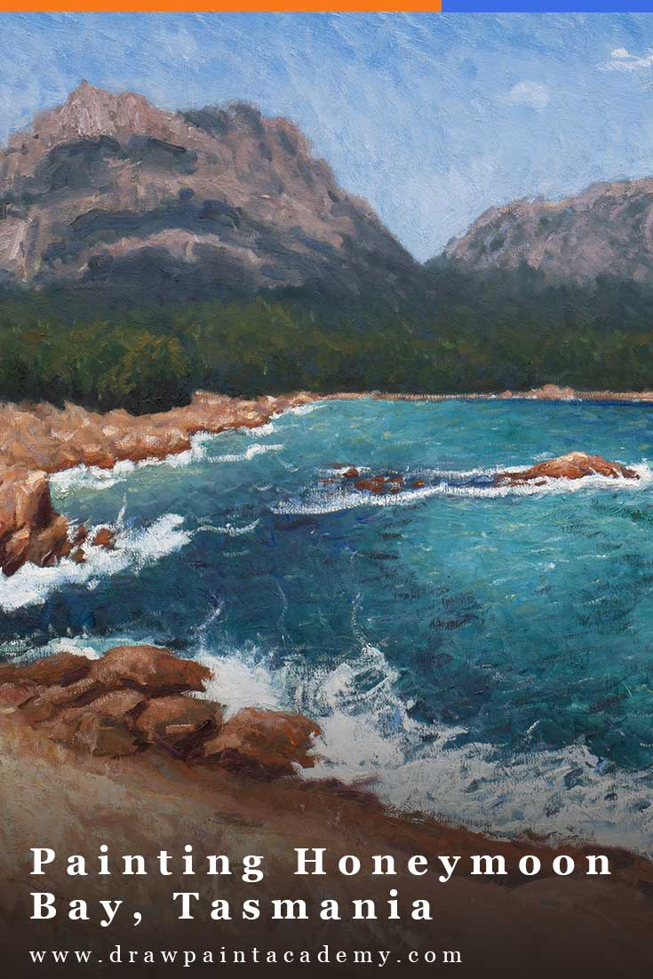 Painting Honeymoon Bay, Tasmania. In this post I will walk you through this painting of the stunning Honeymoon Bay in Tasmania. This is a large-scale painting done on a 24x30 inch canvas in oils. #drawpaintacademy