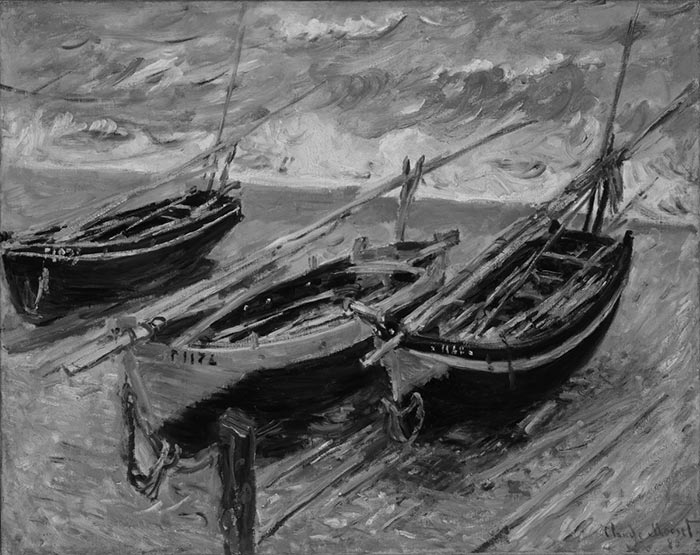 Claude Monet, Fishing Boats, 1886 - Grayscale