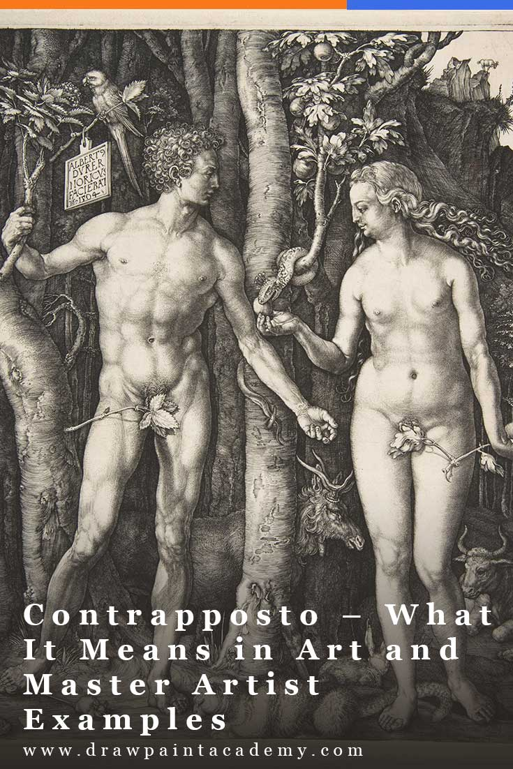 """Contrapposto is Italian for """"opposite"""" or """"counter."""" In art, it refers to the natural standing position of the human body, with weight leaning on one leg and a shift in the body to counter this. Michelangelo\'s David is a perfect example of this. Putting the weight on one leg forces David\'s hips, spine and shoulders to tilt in order to retain balance. #drawpaintacademy"""