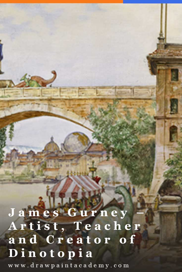 I am pleased to have James Gurney share some of his thoughts on art, business and learning. James created the illustrated book series Dinotopia, wrote Color and Light: A Guide for the Realist Painter, writes a daily blog on Gurney Journey and is a skilled artist and teacher, among many other things. #drawpaintacademy