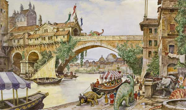 James Gurney, Dinotopia - Land Apart from Time, Archway Scene in Waterfall City