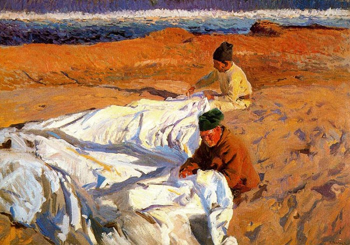 Joaquín Sorolla, Mending Sails, 1904