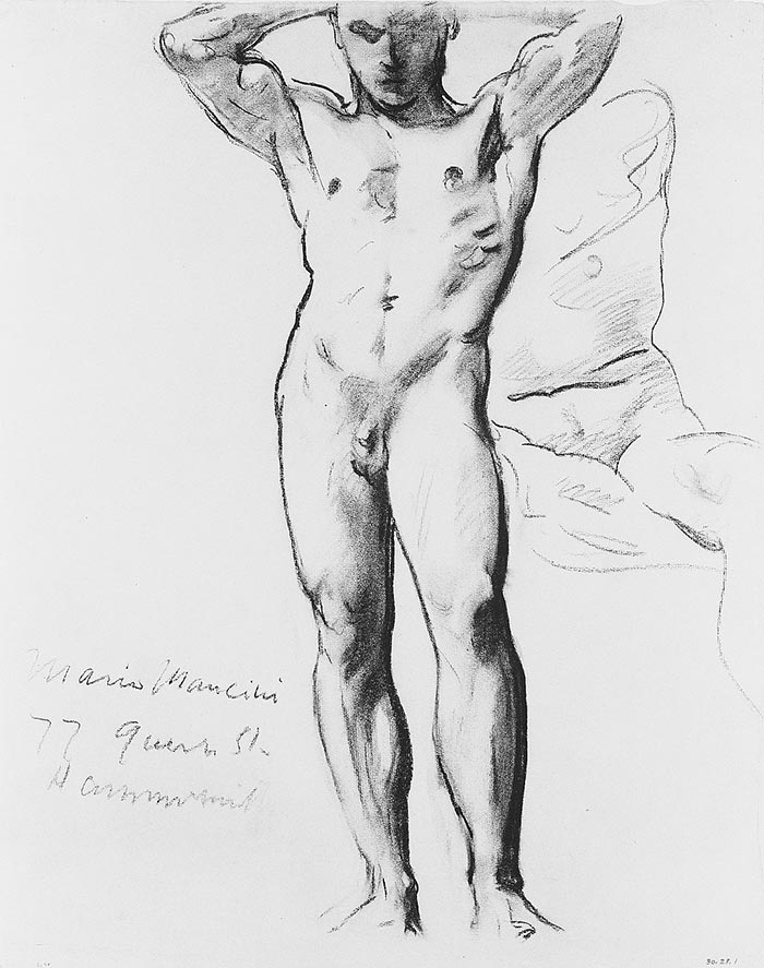 John Singer Sargeant, Man Standing, Hands on Head, c.1890-1910