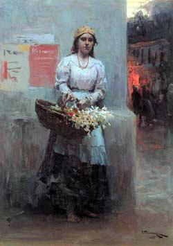 Nicolai Fechin, Flower Girl, 1908