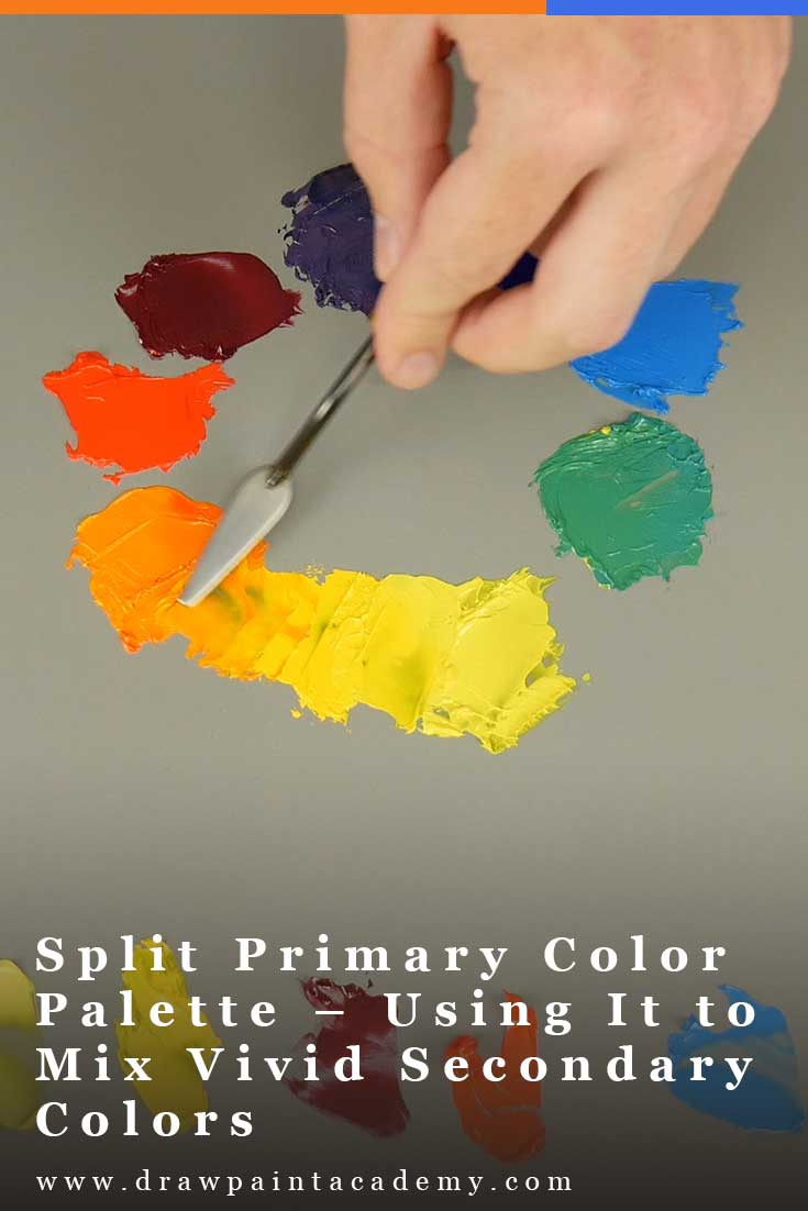 A split primary palette refers to a palette of colors with both warm and cool variations of the primary colors (being red, blue and yellow). #drawpaintacademy