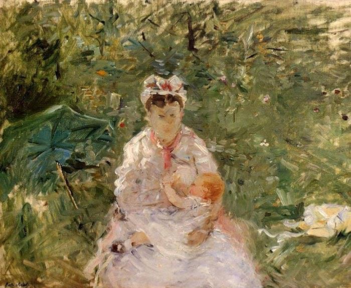 Berthe Morisot, Nanny Angela, Feeding Julie Manet, 1880