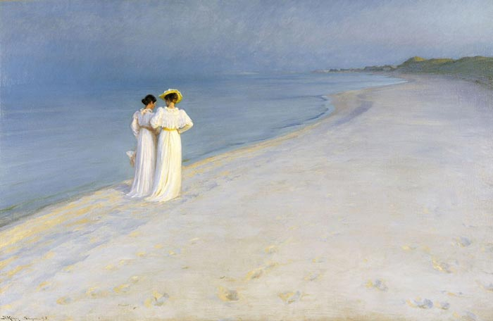 Peder Severin Krøyer, noche de verano en la playa sur de Skagen con Anna Ancher y Marie Krøyer, 1893