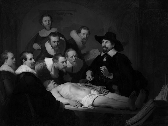 Rembrandt, The Anatomy Lesson of Dr. Nicolaes Tulp, 1632 - Grayscale