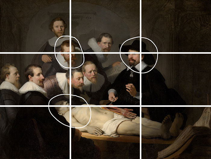 Rembrandt, The Anatomy Lesson of Dr. Nicolaes Tulp, 1632 - Grid
