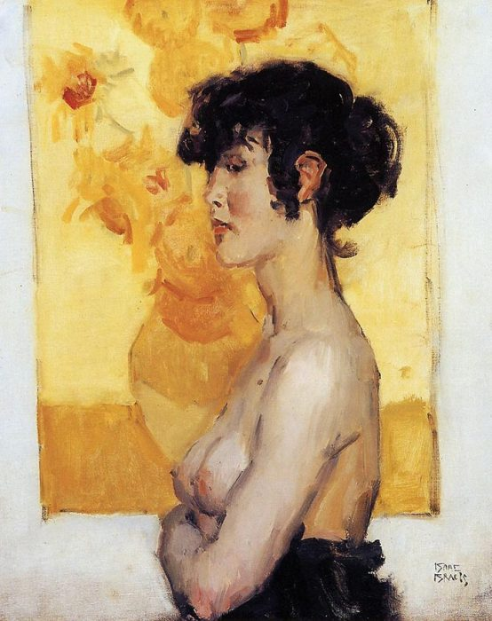 Isaac Israëls, Woman before Sunflowers by Vincent van Gogh, c.1917