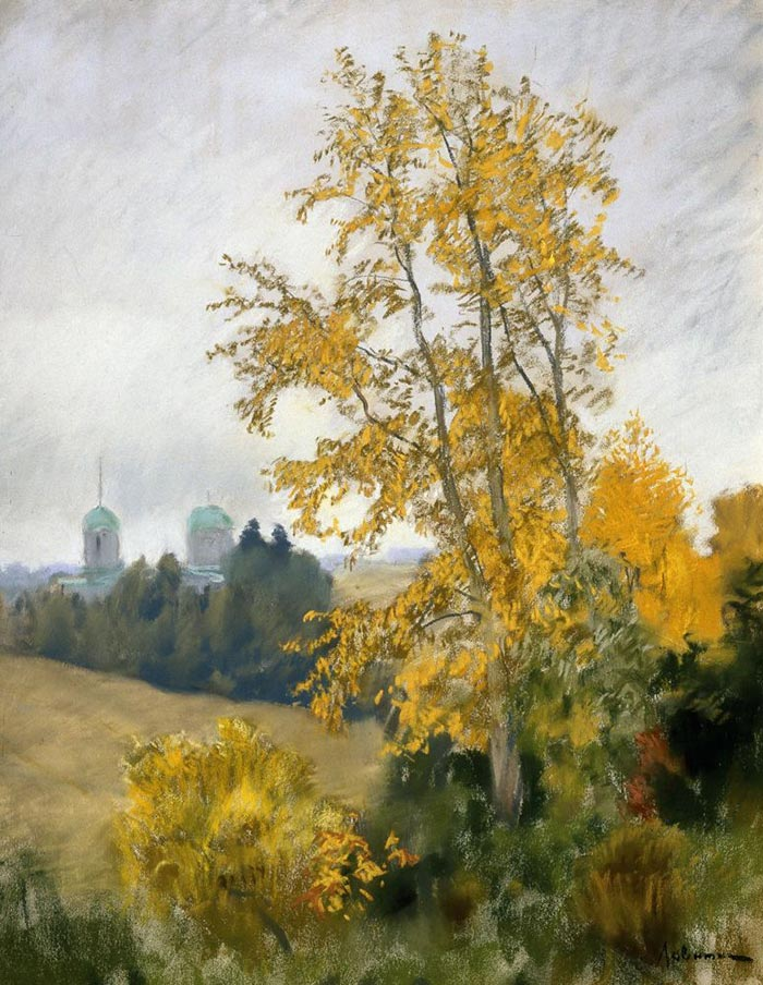 Isaac Levitan, Autumn Landscape with Church, 1890