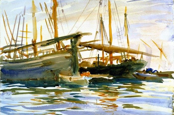 John Singer Sargent, Ships. Venice, 1904
