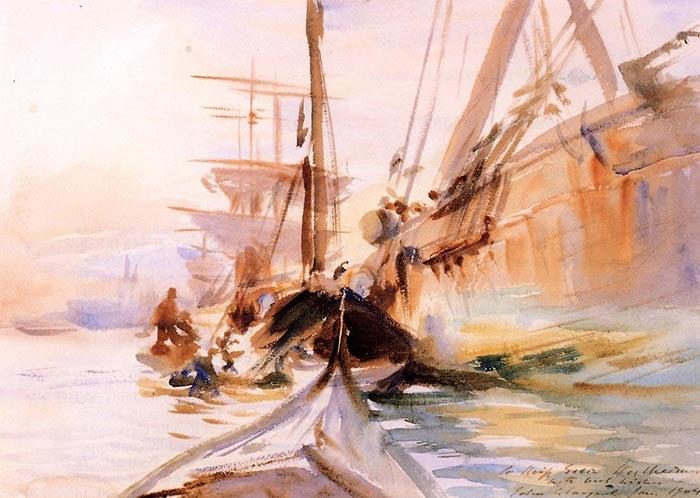 John Singer Sargent, Unloading Boats in Venice, 1904