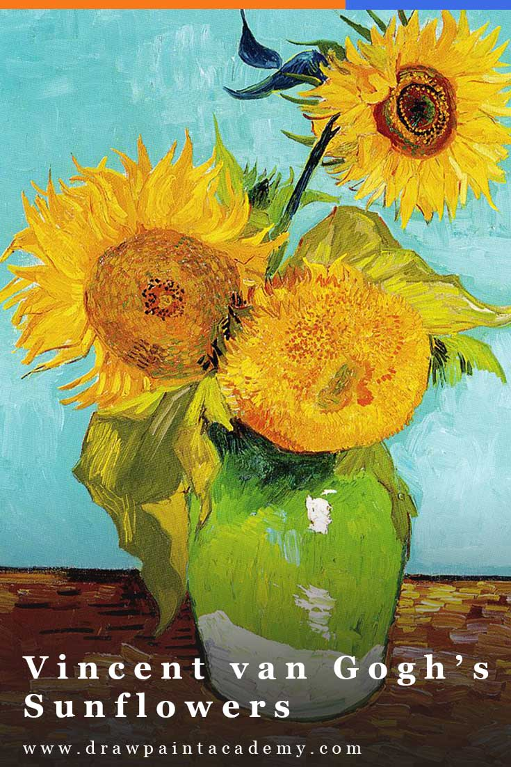 In this post, I take a closer look at Vincent van Gogh\'s Sunflowers series created in Paris and Arles. The series highlights van Gogh\'s progression in color and style, along with some interesting links with another famous artist, Paul Gauguin. #drawpaintacademy