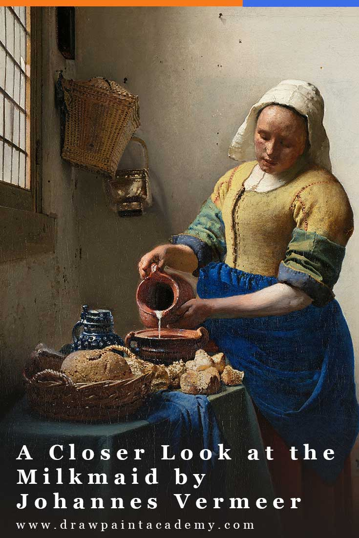 The Milkmaid by Johannes Vermeer is a stunning demonstration of realism, color, and composition. In this post, I take a closer look at the painting to see what you can learn and apply to your own art. #drawpaintacademy