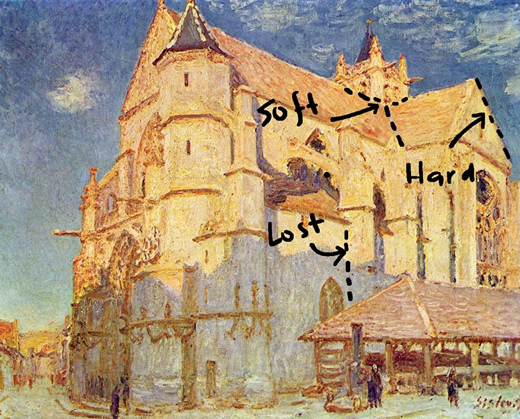 Alfred Sisley, Church in Moret, 1889 - Edges