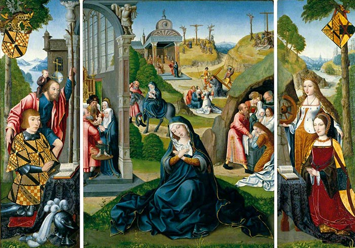 Master of the Magdalen Legend, the Seven Sorrows of Mary (The Ashwellthorpe Triptych), c.1519