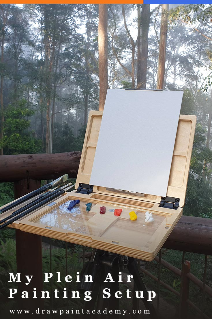 I have had several readers ask for more details about my plein air painting setup since my last post on simplifying a complex scene. So, in case anyone else is curious, I put together this post about what I have in my setup and why I have it. #pleinair #drawpaintacademy #artsupplies