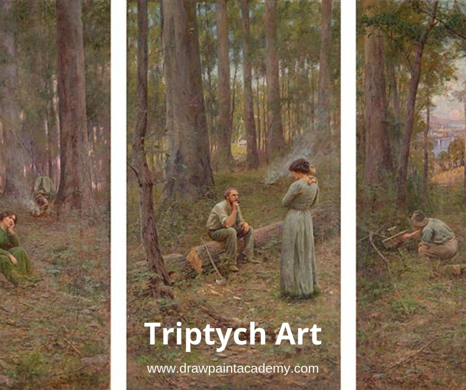Triptych refers to art that is made up of three panels. The term originates from the Greek word 'triptykhos', meaning 'three-layered' or 'three folds'. The panels that form a triptych are often attached to one another with hinges, allowing the two outer panels (or wings) to fold inward and cover the central panel. However, contemporary triptychs are often framed together, or simply displayed alongside one another. #drawpaintacademy