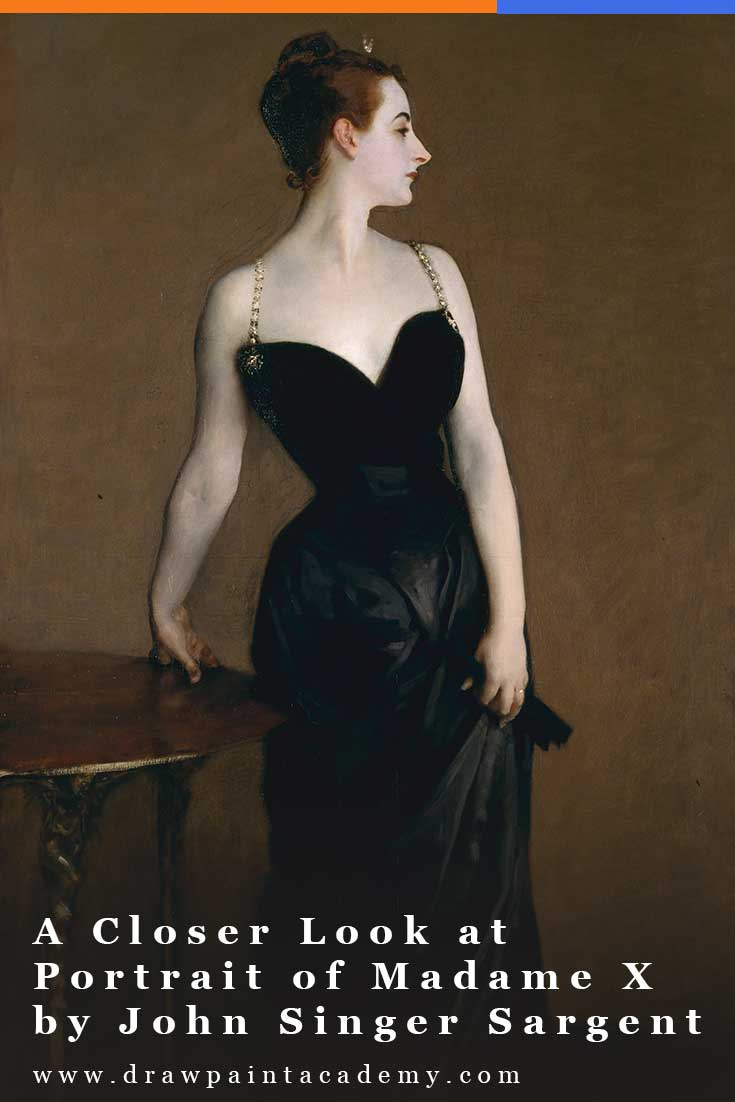 Portrait of Madame X, or Madame X, is an elegant portrait by John Singer Sargent featuring a young socialite named Virginie Amélie Avegno Gautreau.  Sargent ranked this as one of his best works, but it was also one of his most controversial. #drawpaintacademy