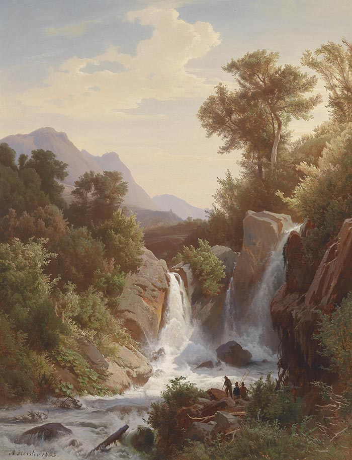 August Friedrich Kessler, Fisherman by The Waterfall, 1853