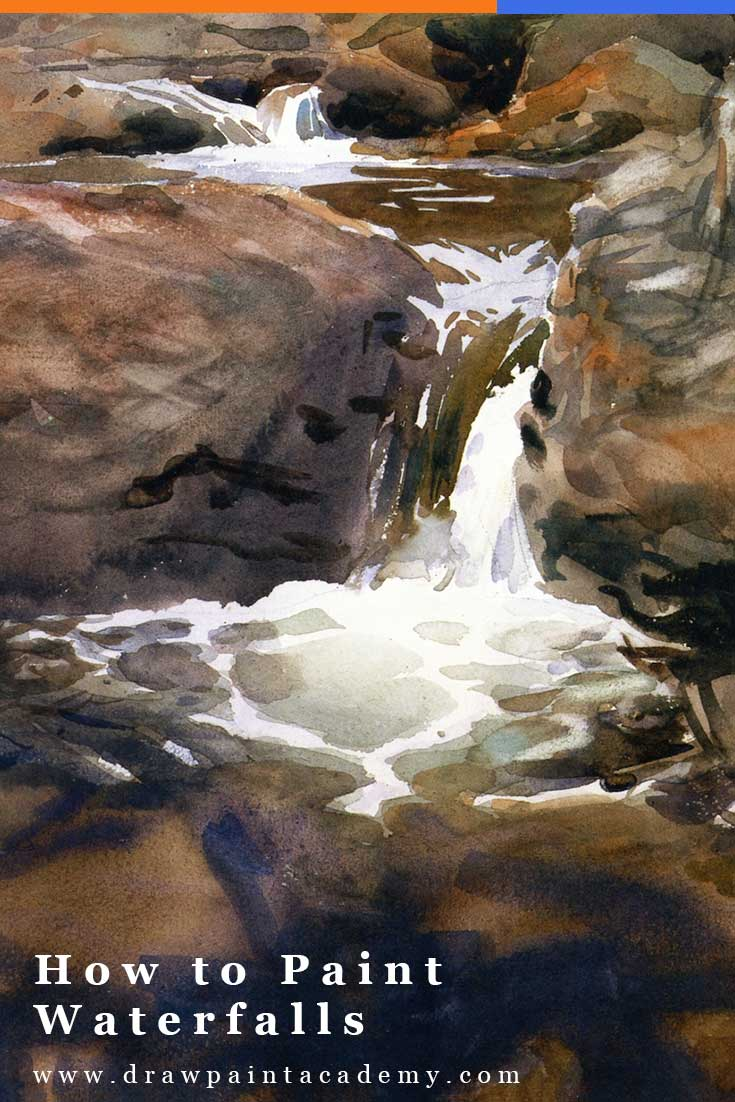 Waterfalls are a fantastic subject to paint, particularly as a study of edges, color, and movement. But they can be challenging, with all the twists, turns, breaks, reflections, and turbulence as the water crashes down through the rocks. In this post, I will provide you with some guidance for how to paint waterfalls, using master paintings and my study as examples. #drawpaintacademy