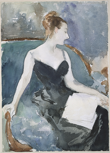 John Singer Sargent, A figure study in watercolor and graphite, c.1883