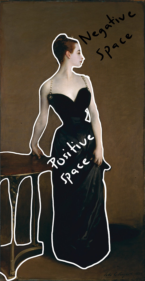 John Singer Sargent, Portrait of Madame X, 1884 (Positive and Negative Space)