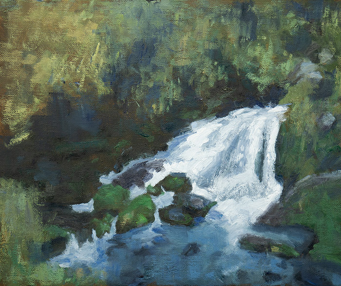 New Zealand Waterfall, Oil, 12x10 Inches, 26082019, 700W