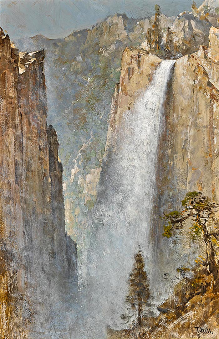 Thomas Hill, A Waterfall In The Sierras