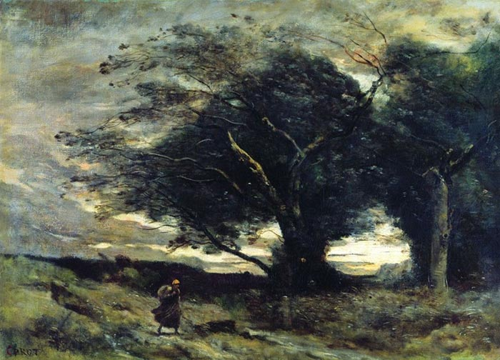 Camille Corot, The Gust of Wind, 1860