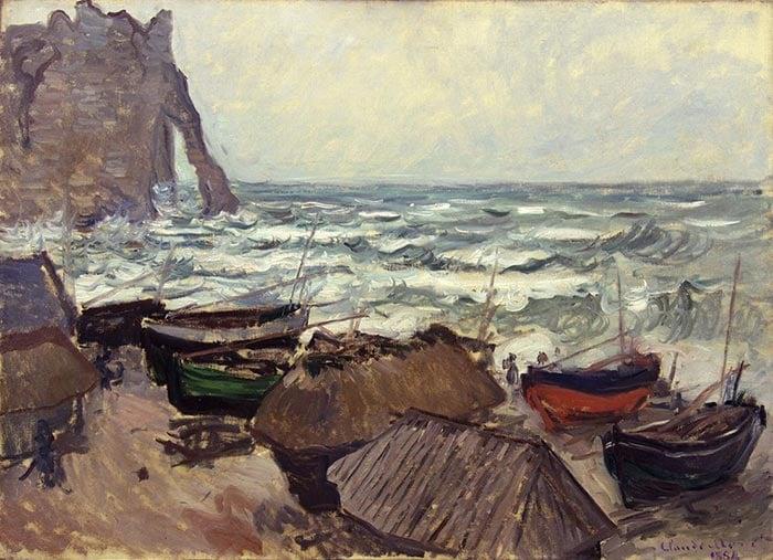 Claude Monet, Fishing Boats on the Coast at éTretat, 1884