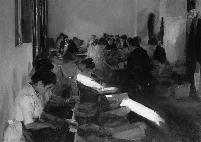 Joaquín Sorolla, Packaging of Raisins, Javea, 1901 (Grayscale)