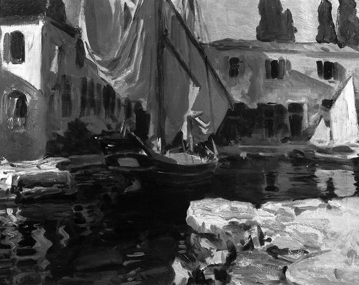 John Singer Sargent, Boat With the Golden Sail, 1913 (Grayscale)