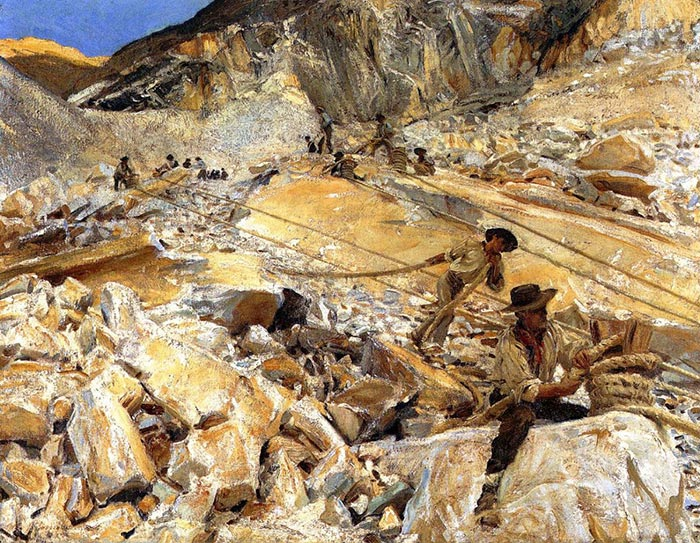 John Singer Sargent, Mining of Marble From the Quarries in Carrara, 1911