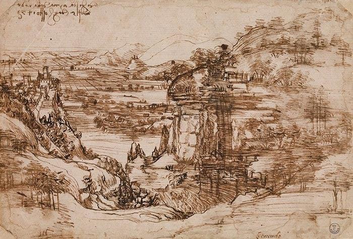 Leonardo da Vinci, Sketch the Tuscan Landscape, 1473