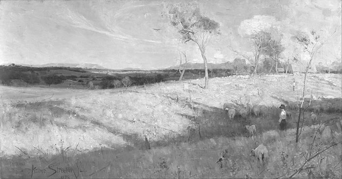 Sir Arthur Streeton, Golden Summer, Eaglemont, 1889 (Grayscale)