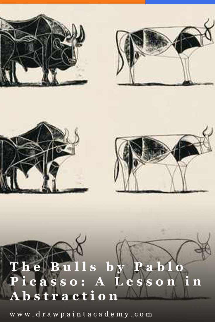 Pablo Picasso\'s The Bull is a series of eleven lithographs created in 1945. It depicts the bull at various stages of abstraction, starting with a fairly realistic depiction and ending with nothing but a few lines. #drawpaintacademy