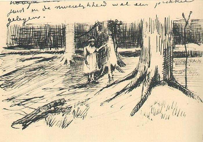 Vincent Van Gogh, Girl in the Woods. The Figure in the Letter, 1882