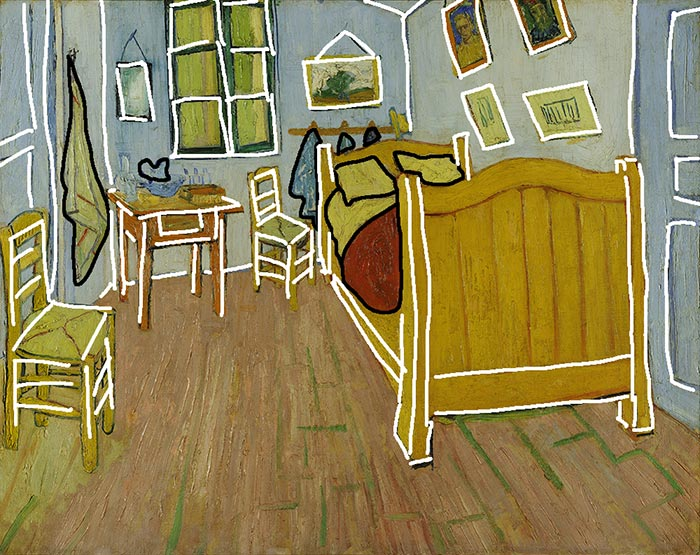 Vincent van Gogh, Bedroom in Arles (First Version), 1888 (Shapes)