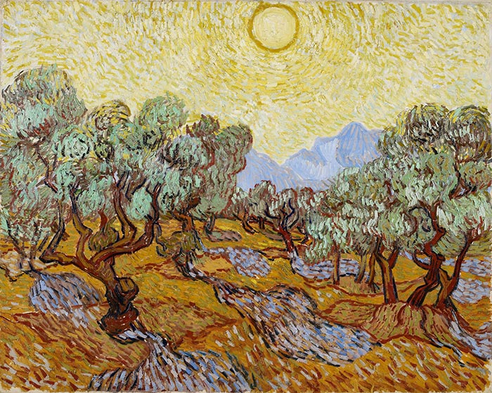 Vincent van Gogh, Olive Trees Under a Yellow Sky, and the November Sun, 1889