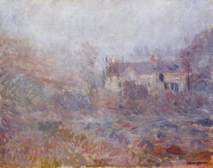 Claude Monet, Homes of Falaise in the Fog, 1885