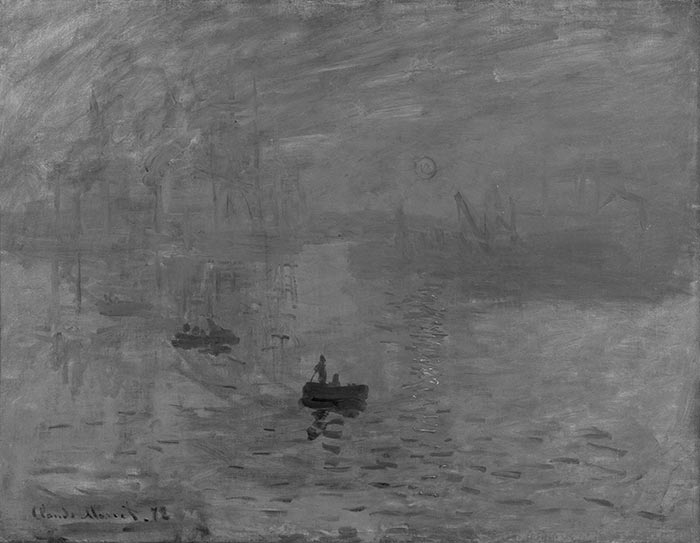 Claude Monet, Impression, Sunrise, 1872 (Grayscale)