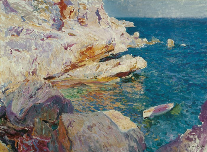 Joaquín Sorolla, Rocks and White Boat Javea, 1905