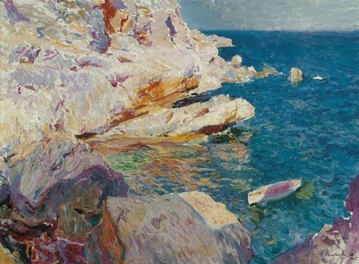 Joaquín Sorolla, Rocks and White Boat Javea, 1905