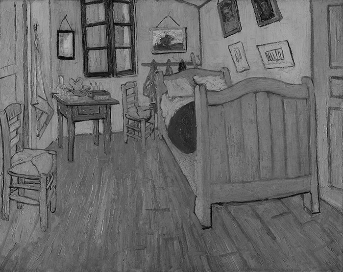 Vincent van Gogh, Bedroom in Arles (First Version), 1888 (Grayscale)
