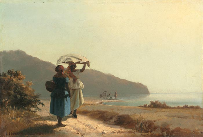Camille Pissarro, Two Women Chatting by the Sea, St. Thomas, 1856