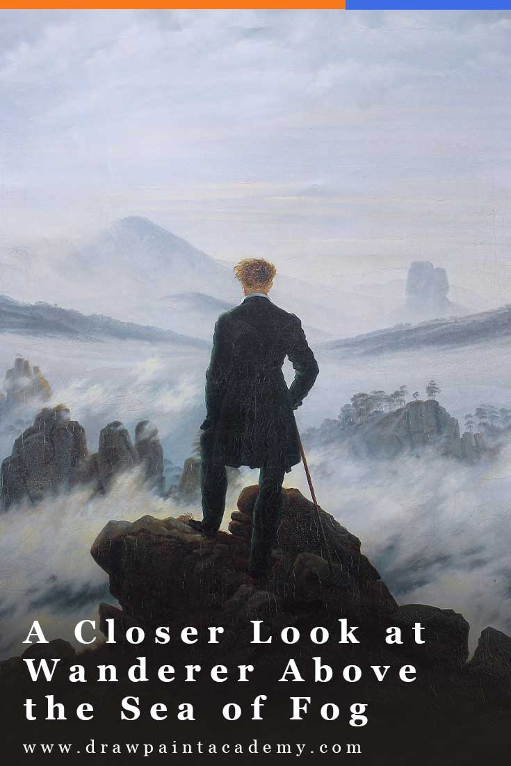 In this post, I take a closer look at Wanderer Above the Sea of Fog by Caspar David Friedrich. It is an iconic work of Romanticism that features a man standing on the edge of the rocky terrain, looking out over the foggy landscape. #drawpaintacademy